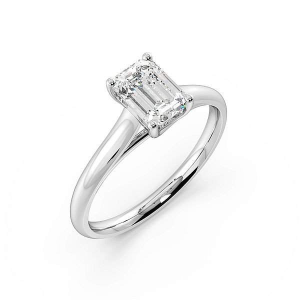 emerald Cross Over Claws Solitaire Diamond Engagement Ring