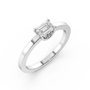 Emerald Solitaire Diamond Engagement Ring