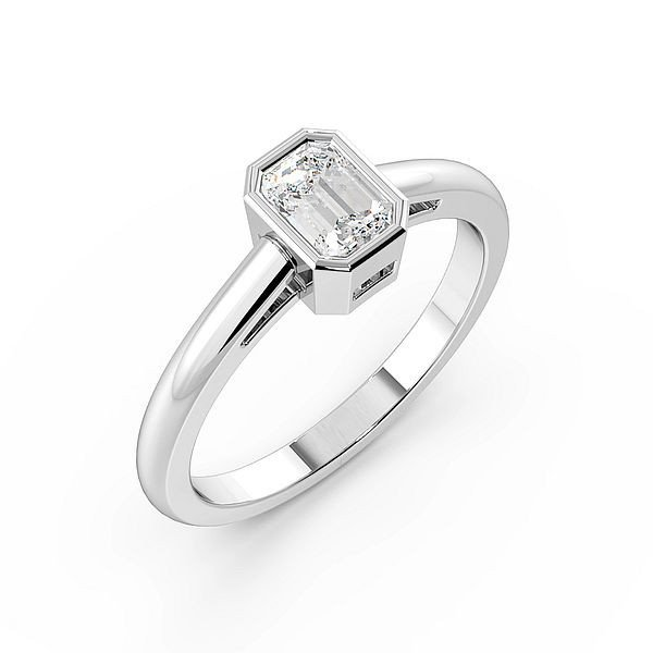 Emerald Shoulder Gallery Solitaire Diamond Engagement Ring