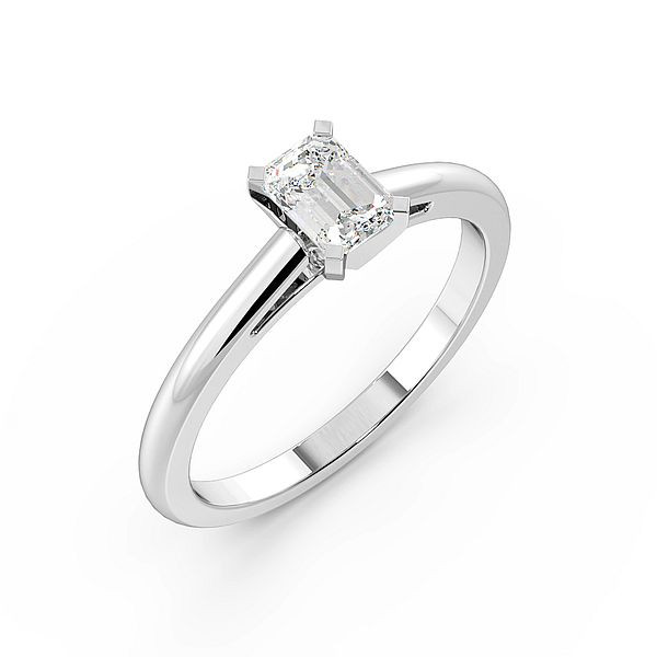 Emerald Open Setting Solitaire Diamond Engagement Ring