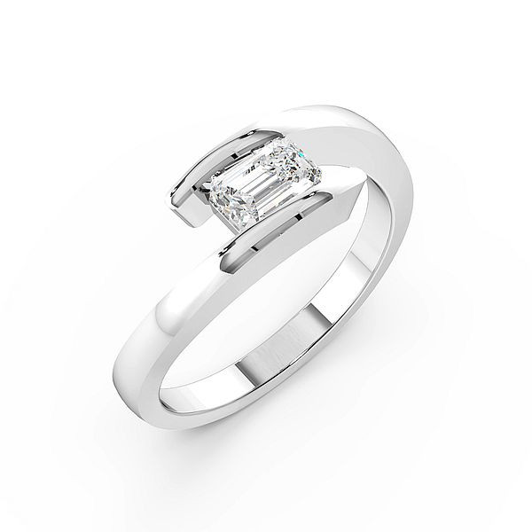 Emerald Modern Style Solitaire Diamond Engagement Ring