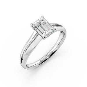 Emerald Center Rows Solitaire Diamond Engagement Ring