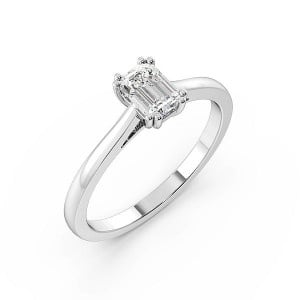 Emerald Twin Claws Solitaire Diamond Engagement Ring