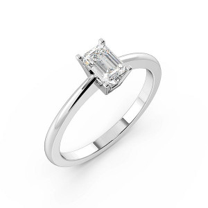Emerald Open Basket Solitaire Diamond Engagement Ring