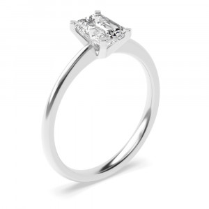 Emerald Tulip Claws Solitaire Diamond Engagement Ring