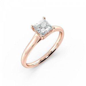 Princess Solitaire Diamond Engagement Ring In Cross Over Claws Setting