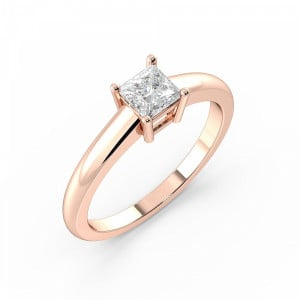 Princess Solitaire Diamond Engagement Ring In Basket Setting