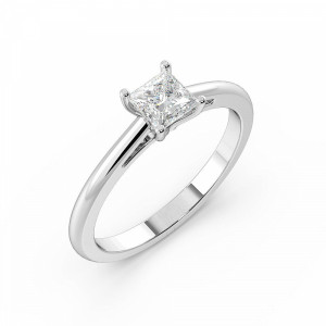 Princess Solitaire Diamond Engagement Ring With Tapering Open Shoulder