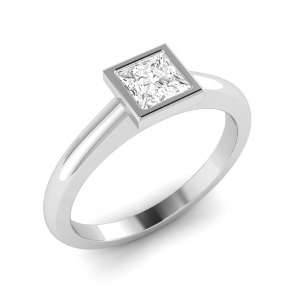 Princess Engagement Ring With Solid Shoulder Solitaire Diamond
