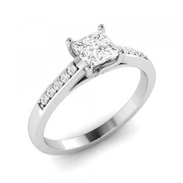 Princess Engagement Ring With Pave Set Diamond on Shoulder