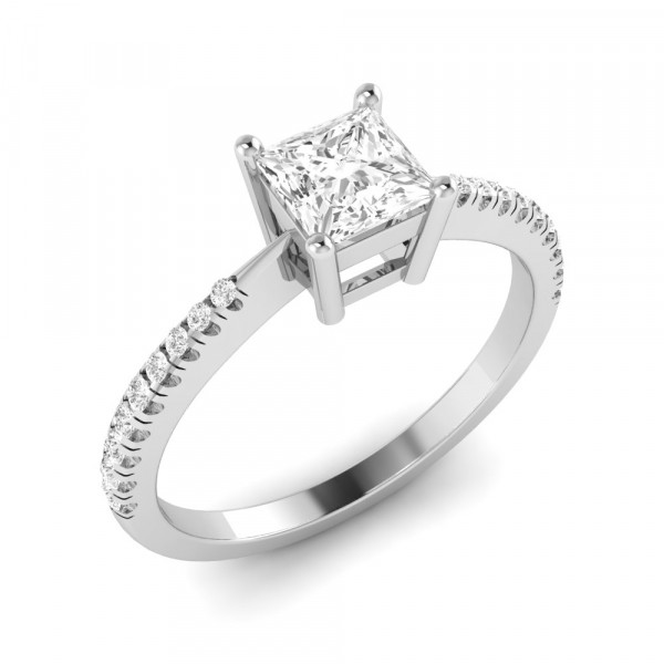 Princess Engagement Ring With Tapering Shoulder Set Diamond