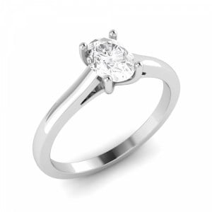 Classic Open Setting Oval Solitaire Diamond Engagement Rings