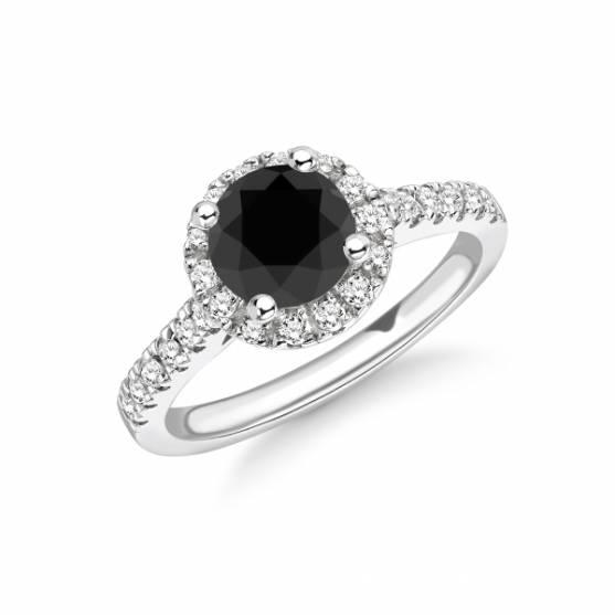 One Carat Halo Black Diamond Ring