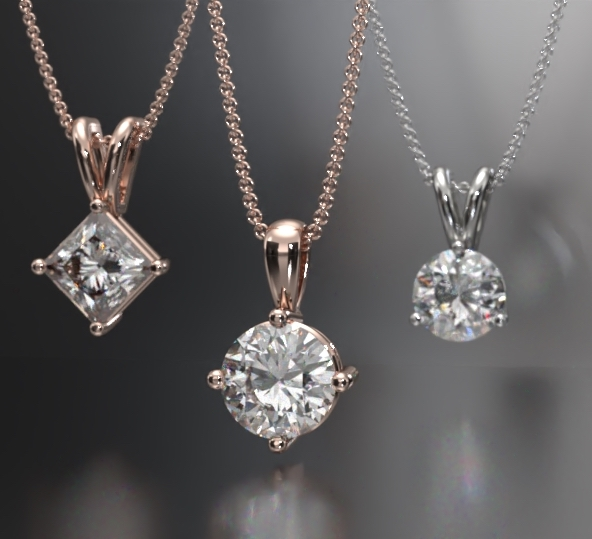 solitaire diamond necklace and pendants